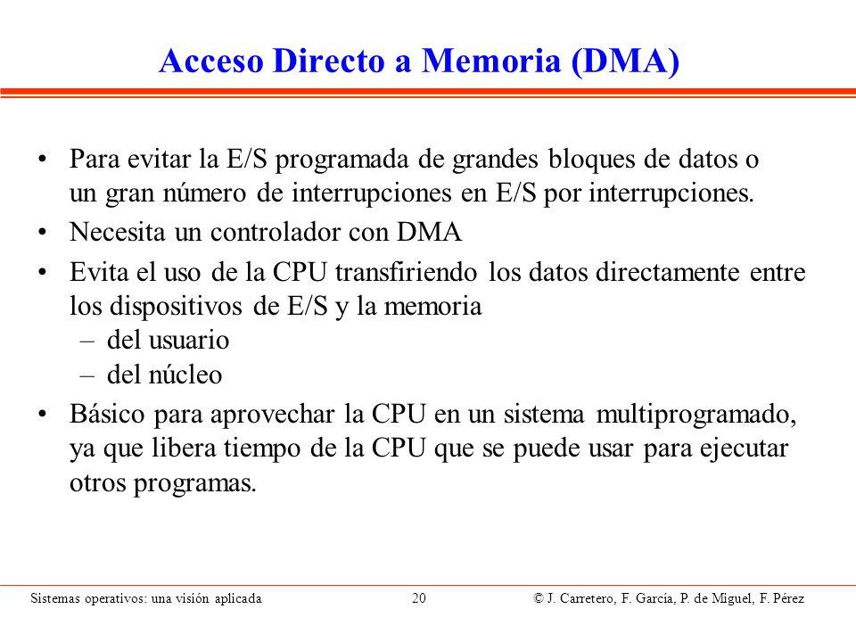 Sistemas operativos: una visión aplicada 20 © J. Carretero, F. García, P. de Miguel, F. Pérez Acceso Directo a Memoria (DMA) Para evitar la E/S progra