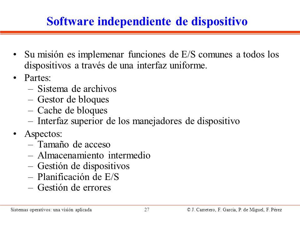 Sistemas operativos: una visión aplicada 27 © J. Carretero, F. García, P. de Miguel, F. Pérez Software independiente de dispositivo Su misión es imple
