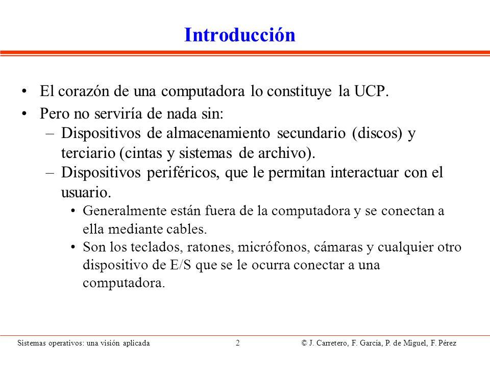 Sistemas operativos: una visión aplicada 2 © J. Carretero, F. García, P. de Miguel, F. Pérez Introducción El corazón de una computadora lo constituye