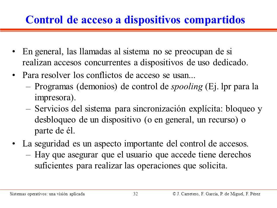 Sistemas operativos: una visión aplicada 32 © J. Carretero, F. García, P. de Miguel, F. Pérez Control de acceso a dispositivos compartidos En general,