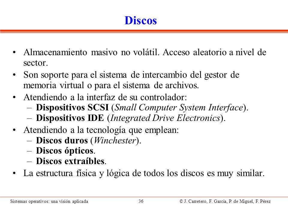 Sistemas operativos: una visión aplicada 36 © J. Carretero, F. García, P. de Miguel, F. Pérez Discos Almacenamiento masivo no volátil. Acceso aleatori