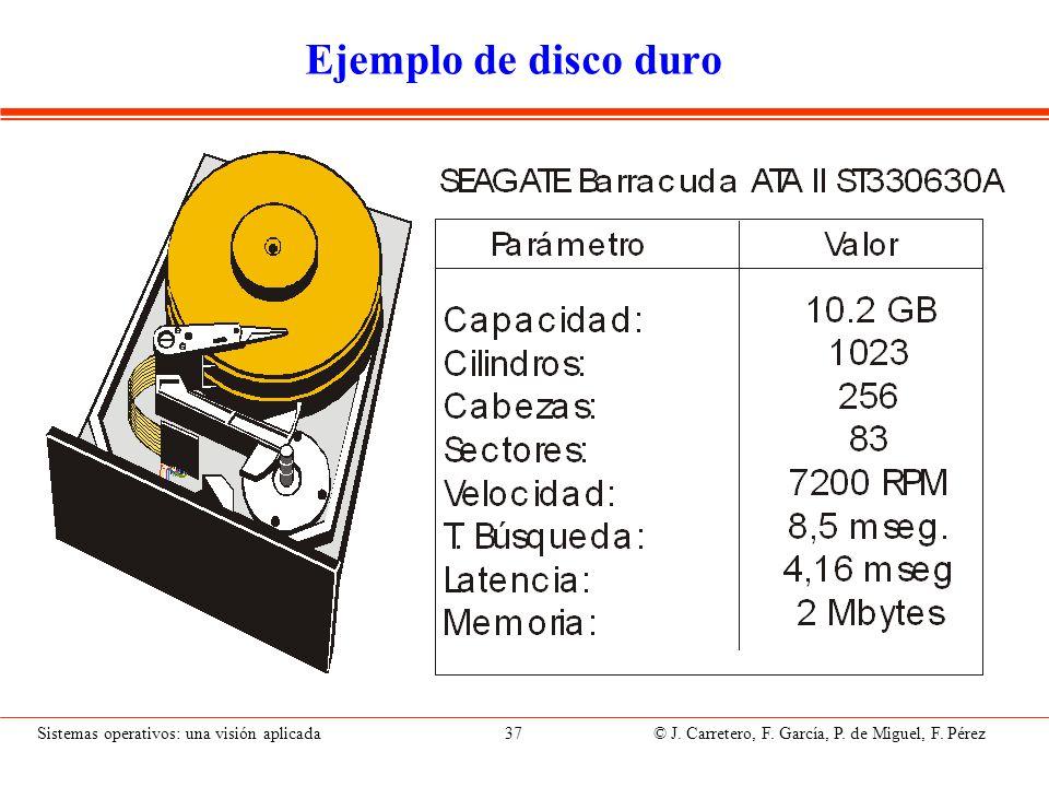 Sistemas operativos: una visión aplicada 37 © J. Carretero, F. García, P. de Miguel, F. Pérez Ejemplo de disco duro