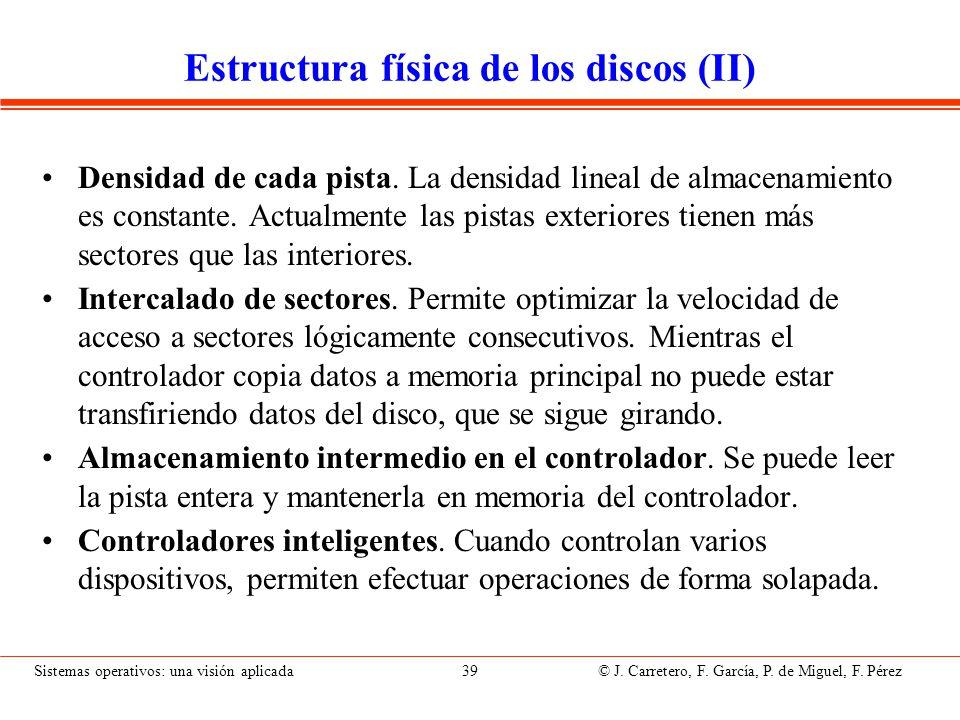 Sistemas operativos: una visión aplicada 39 © J. Carretero, F. García, P. de Miguel, F. Pérez Estructura física de los discos (II) Densidad de cada pi