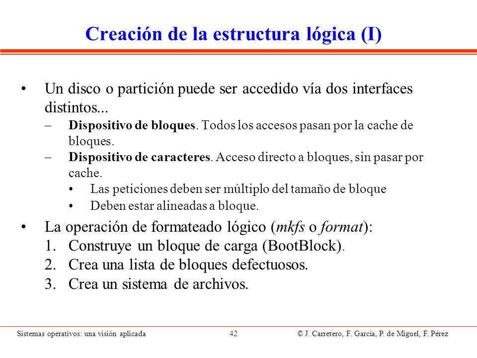 Sistemas operativos: una visión aplicada 42 © J. Carretero, F. García, P. de Miguel, F. Pérez Creación de la estructura lógica (I) Un disco o partició