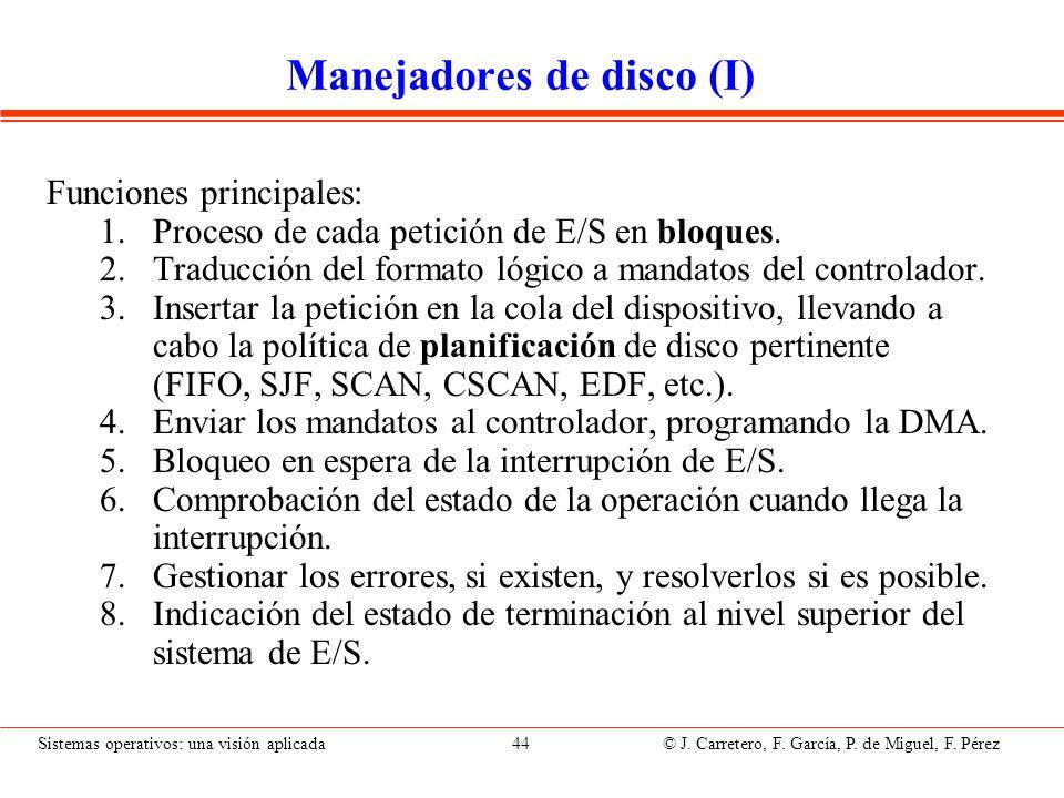 Sistemas operativos: una visión aplicada 44 © J. Carretero, F. García, P. de Miguel, F. Pérez Manejadores de disco (I) Funciones principales: 1.Proces