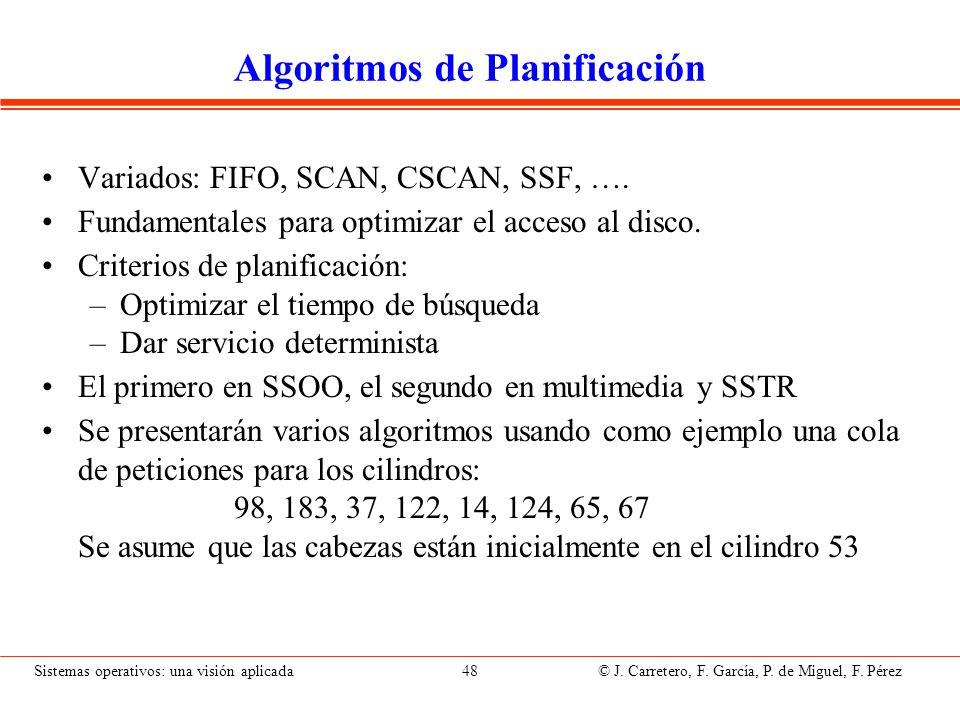Sistemas operativos: una visión aplicada 48 © J. Carretero, F. García, P. de Miguel, F. Pérez Algoritmos de Planificación Variados: FIFO, SCAN, CSCAN,