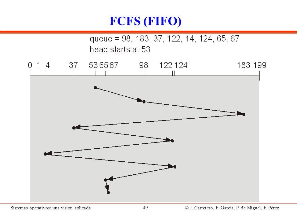 Sistemas operativos: una visión aplicada 49 © J. Carretero, F. García, P. de Miguel, F. Pérez FCFS (FIFO)