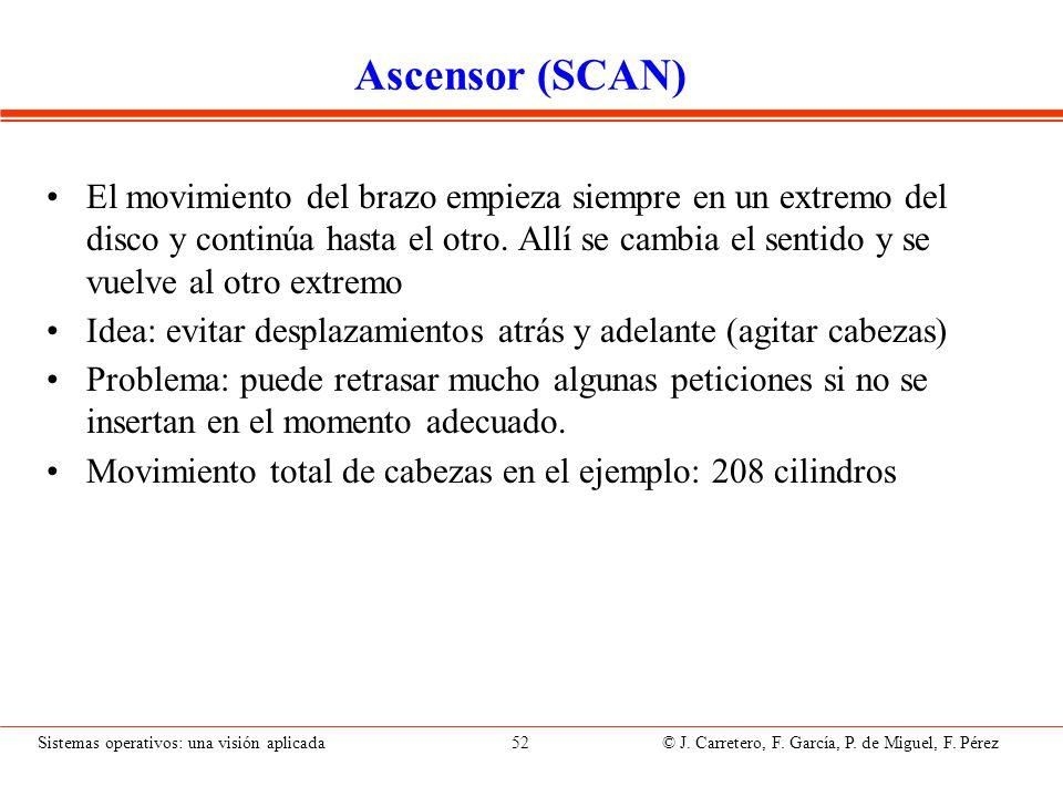 Sistemas operativos: una visión aplicada 52 © J. Carretero, F. García, P. de Miguel, F. Pérez Ascensor (SCAN) El movimiento del brazo empieza siempre