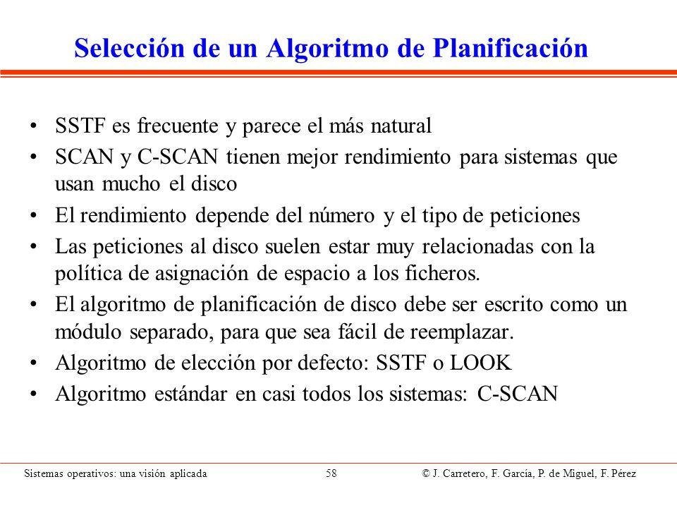 Sistemas operativos: una visión aplicada 58 © J. Carretero, F. García, P. de Miguel, F. Pérez Selección de un Algoritmo de Planificación SSTF es frecu