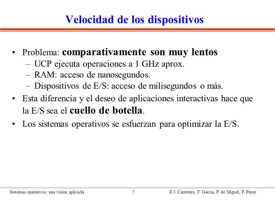 Sistemas operativos: una visión aplicada 5 © J. Carretero, F. García, P. de Miguel, F. Pérez Velocidad de los dispositivos Problema: comparativamente