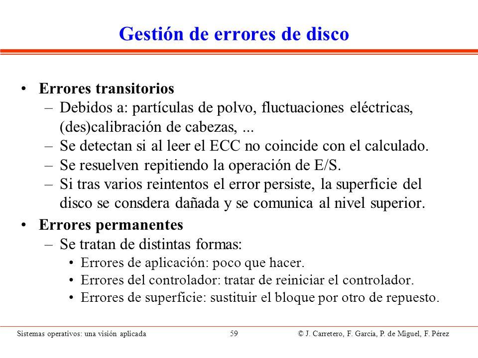 Sistemas operativos: una visión aplicada 59 © J. Carretero, F. García, P. de Miguel, F. Pérez Gestión de errores de disco Errores transitorios –Debido