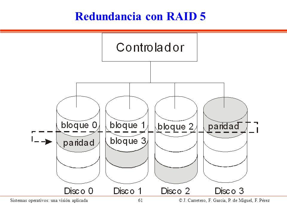 Sistemas operativos: una visión aplicada 61 © J. Carretero, F. García, P. de Miguel, F. Pérez Redundancia con RAID 5