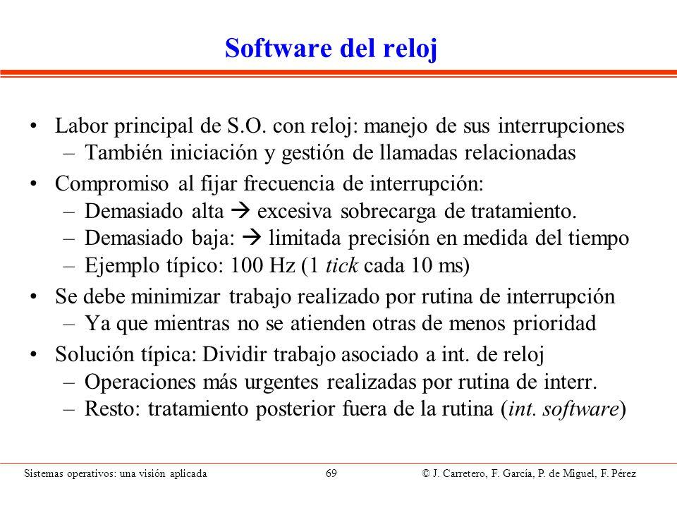 Sistemas operativos: una visión aplicada 69 © J. Carretero, F. García, P. de Miguel, F. Pérez Software del reloj Labor principal de S.O. con reloj: ma