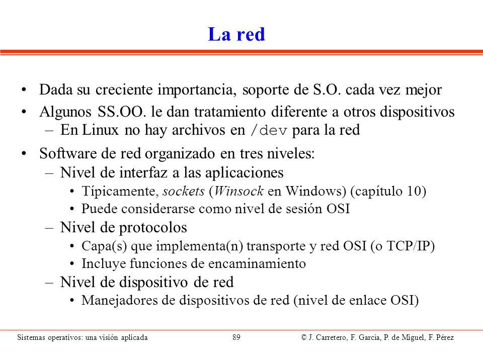 Sistemas operativos: una visión aplicada 89 © J. Carretero, F. García, P. de Miguel, F. Pérez La red Dada su creciente importancia, soporte de S.O. ca