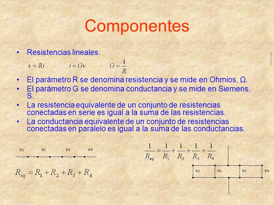 Componentes Resistencias lineales. El parámetro R se denomina resistencia y se mide en Ohmios, Ω. El parámetro G se denomina conductancia y se mide en