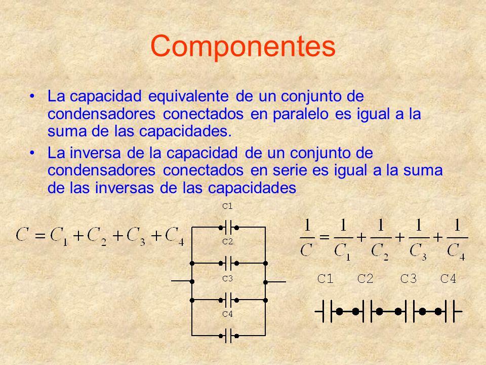Componentes La capacidad equivalente de un conjunto de condensadores conectados en paralelo es igual a la suma de las capacidades. La inversa de la ca
