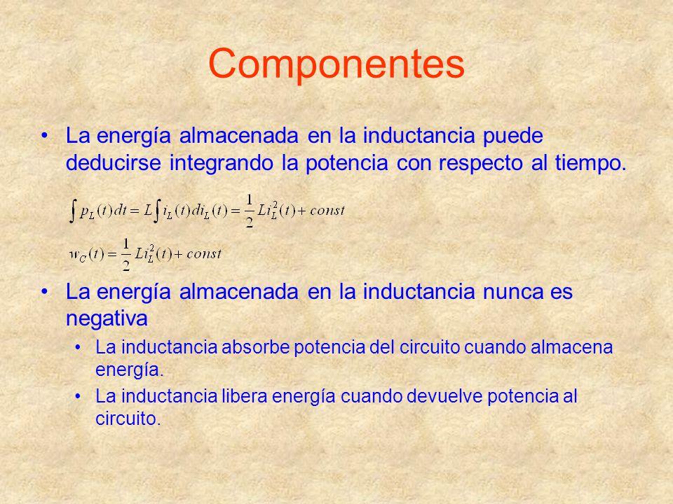 Componentes La energía almacenada en la inductancia puede deducirse integrando la potencia con respecto al tiempo. La energía almacenada en la inducta