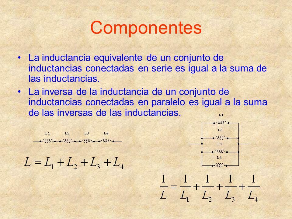 Componentes La inductancia equivalente de un conjunto de inductancias conectadas en serie es igual a la suma de las inductancias. La inversa de la ind