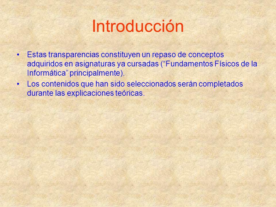 Introducción Estas transparencias constituyen un repaso de conceptos adquiridos en asignaturas ya cursadas (Fundamentos Físicos de la Informática prin