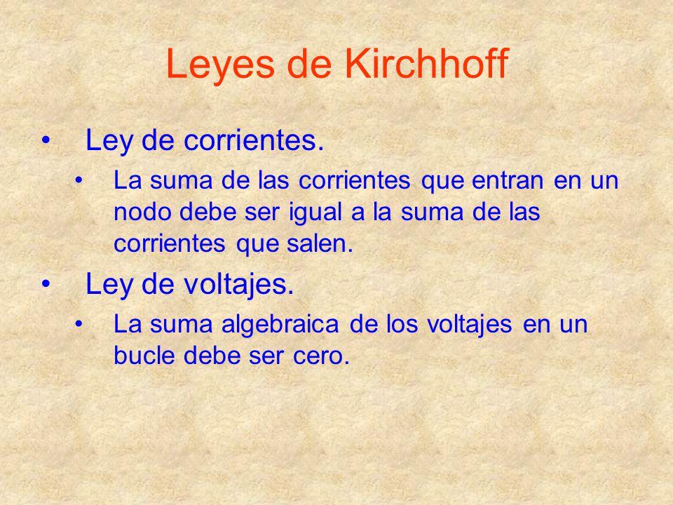 Leyes de Kirchhoff Ley de corrientes. La suma de las corrientes que entran en un nodo debe ser igual a la suma de las corrientes que salen. Ley de vol