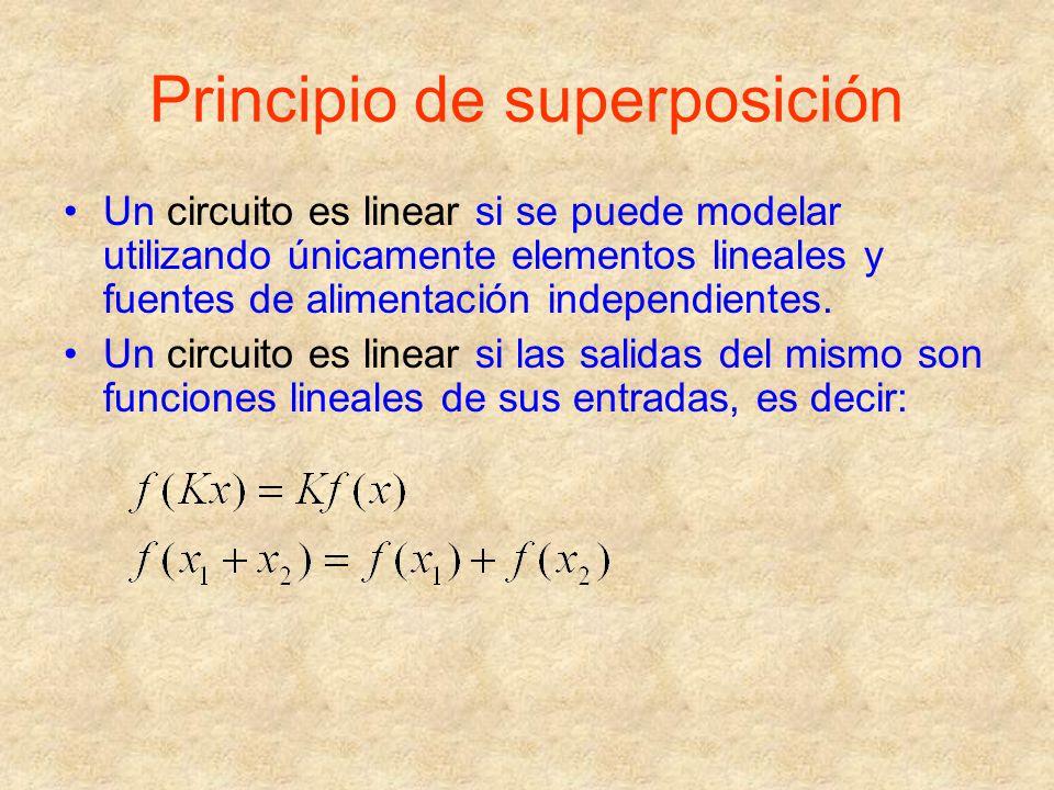 Principio de superposición Un circuito es linear si se puede modelar utilizando únicamente elementos lineales y fuentes de alimentación independientes