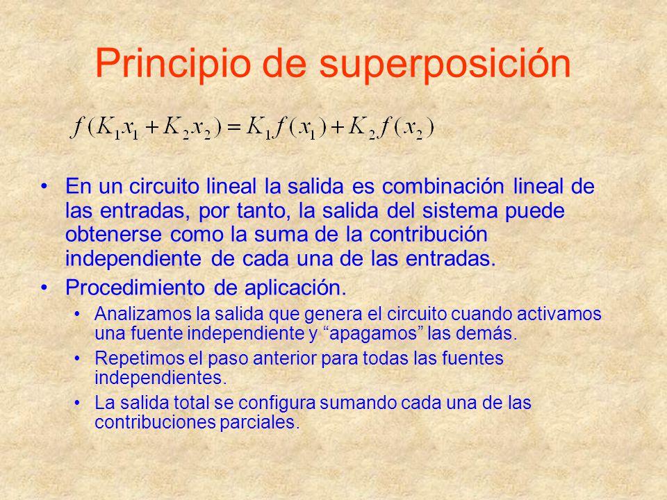 Principio de superposición En un circuito lineal la salida es combinación lineal de las entradas, por tanto, la salida del sistema puede obtenerse com