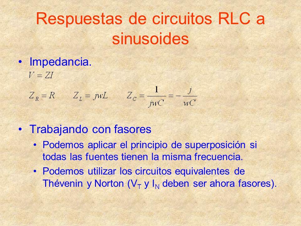 Respuestas de circuitos RLC a sinusoides Impedancia. Trabajando con fasores Podemos aplicar el principio de superposición si todas las fuentes tienen