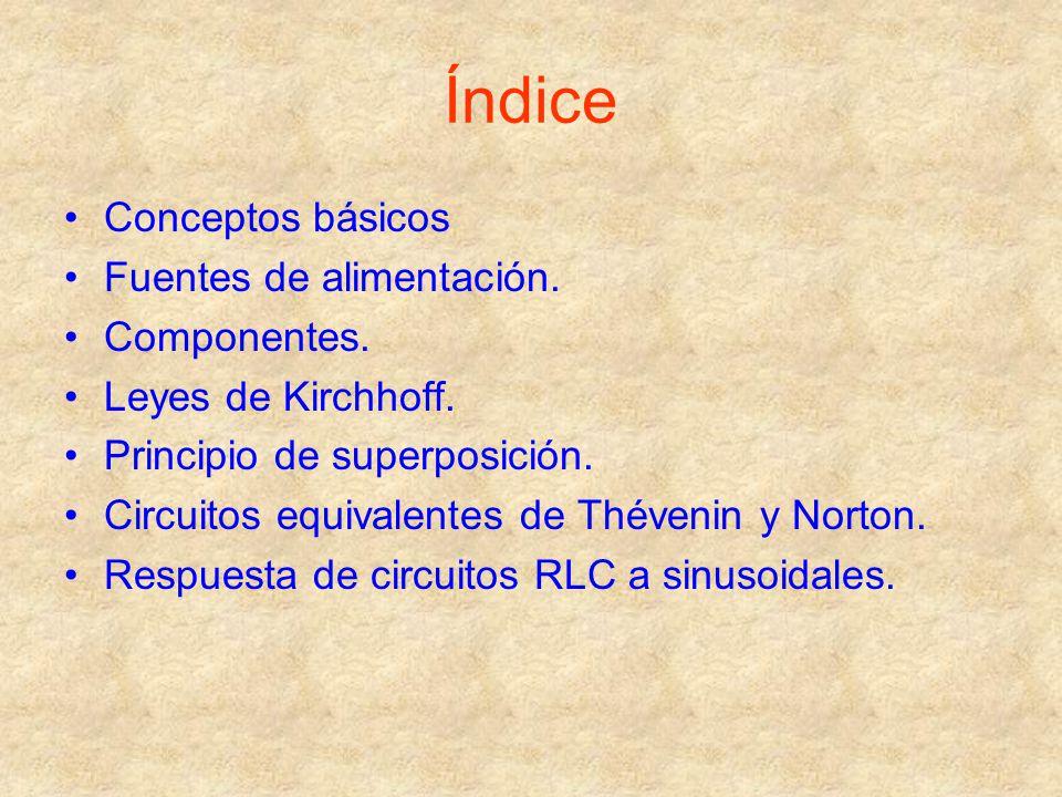 Índice Conceptos básicos Fuentes de alimentación. Componentes. Leyes de Kirchhoff. Principio de superposición. Circuitos equivalentes de Thévenin y No