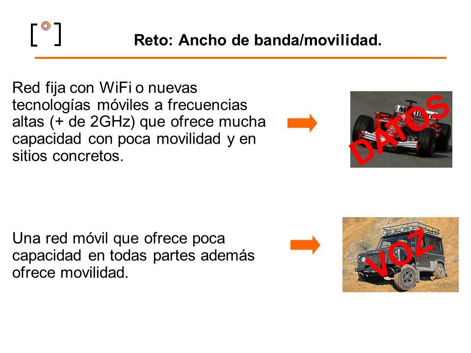 Reto: Ancho de banda/movilidad. Red fija con WiFi o nuevas tecnologías móviles a frecuencias altas (+ de 2GHz) que ofrece mucha capacidad con poca mov