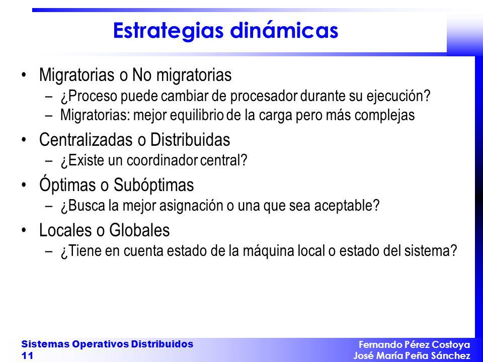 Fernando Pérez Costoya José María Peña Sánchez Sistemas Operativos Distribuidos 11 Estrategias dinámicas Migratorias o No migratorias –¿Proceso puede