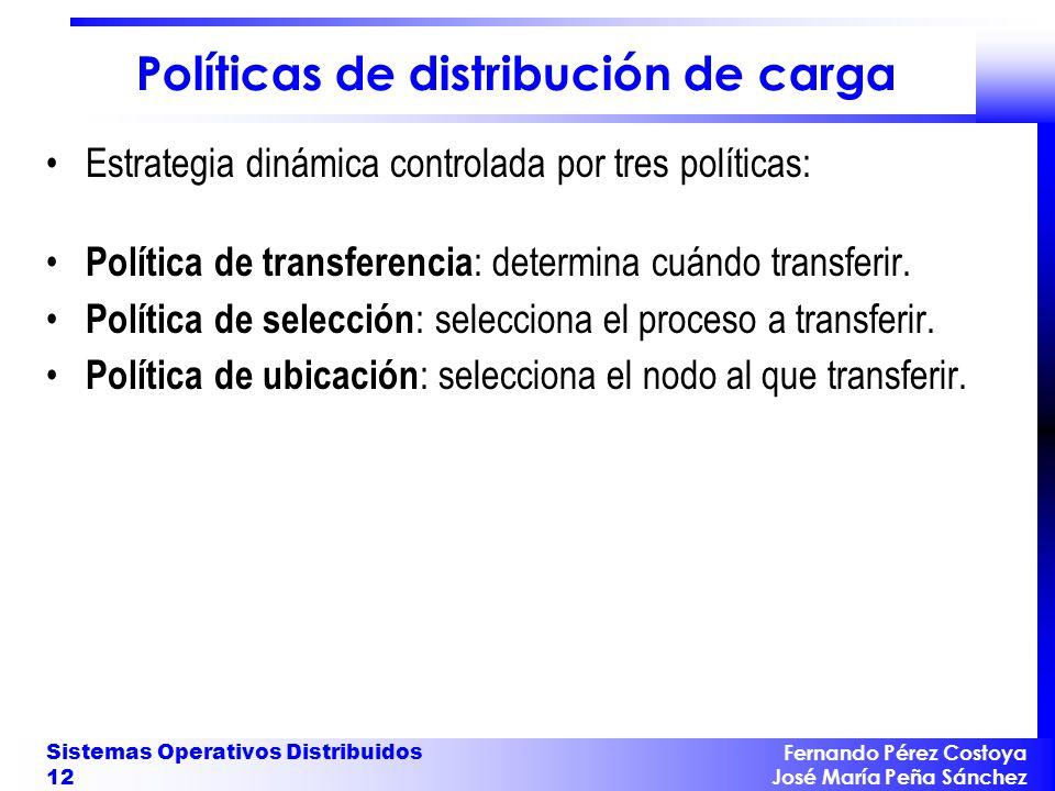 Fernando Pérez Costoya José María Peña Sánchez Sistemas Operativos Distribuidos 12 Políticas de distribución de carga Estrategia dinámica controlada p