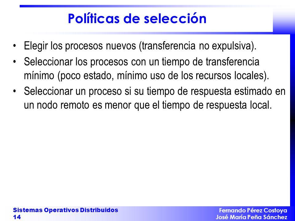 Fernando Pérez Costoya José María Peña Sánchez Sistemas Operativos Distribuidos 14 Políticas de selección Elegir los procesos nuevos (transferencia no