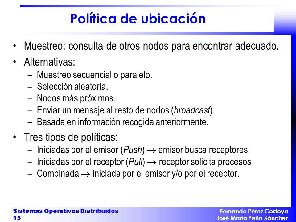 Fernando Pérez Costoya José María Peña Sánchez Sistemas Operativos Distribuidos 15 Política de ubicación Muestreo: consulta de otros nodos para encont