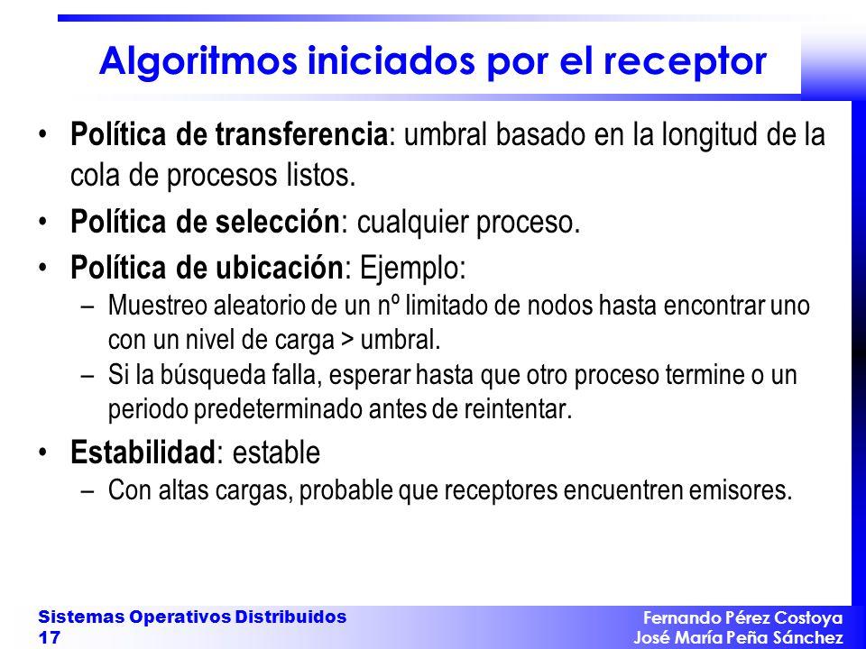 Fernando Pérez Costoya José María Peña Sánchez Sistemas Operativos Distribuidos 17 Algoritmos iniciados por el receptor Política de transferencia : um