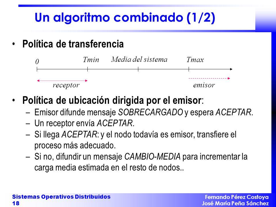 Fernando Pérez Costoya José María Peña Sánchez Sistemas Operativos Distribuidos 18 Un algoritmo combinado (1/2) Política de transferencia 0 Tmin Media