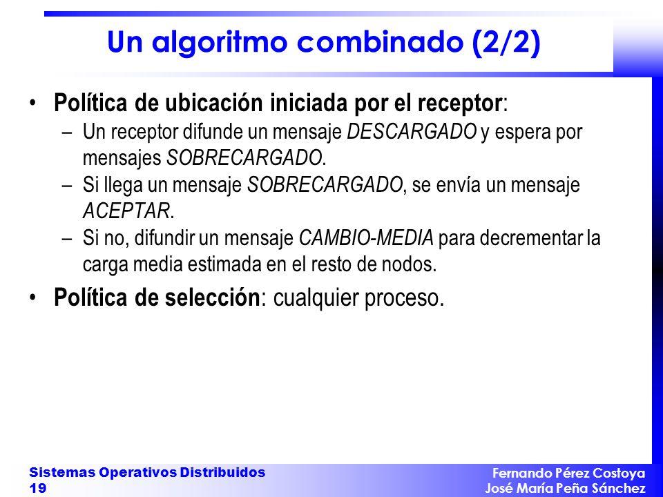 Fernando Pérez Costoya José María Peña Sánchez Sistemas Operativos Distribuidos 19 Un algoritmo combinado (2/2) Política de ubicación iniciada por el