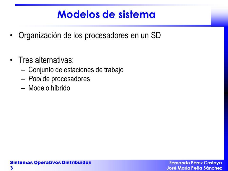 Fernando Pérez Costoya José María Peña Sánchez Sistemas Operativos Distribuidos 4 Conjunto de estaciones de trabajo SD compuesto de estaciones de trabajo conectadas Procesos de un usuario se ejecutan en su estación de trabajo.