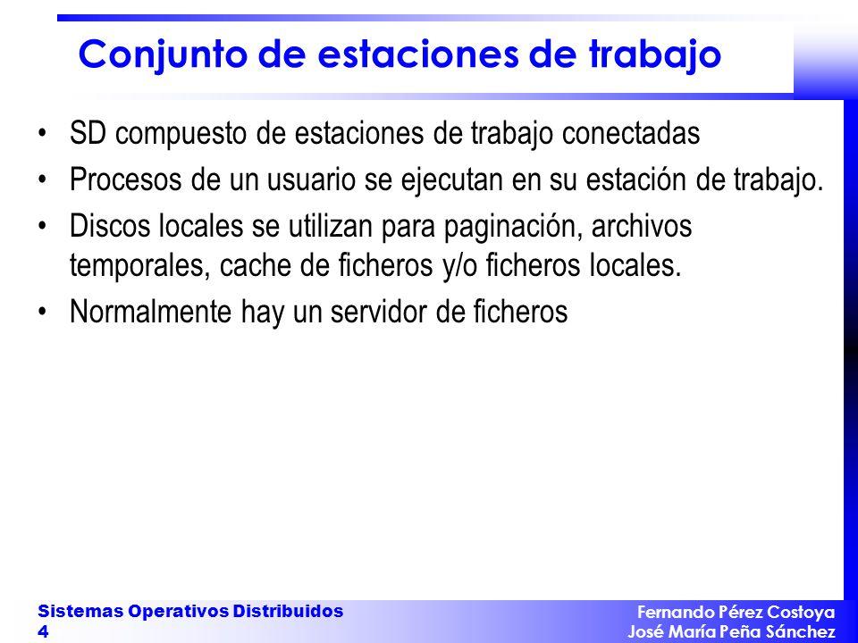 Fernando Pérez Costoya José María Peña Sánchez Sistemas Operativos Distribuidos 5 Pool de procesadores Los usuarios utilizan terminales gráficos (p.ej.