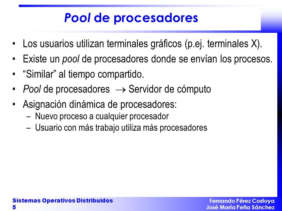 Fernando Pérez Costoya José María Peña Sánchez Sistemas Operativos Distribuidos 5 Pool de procesadores Los usuarios utilizan terminales gráficos (p.ej