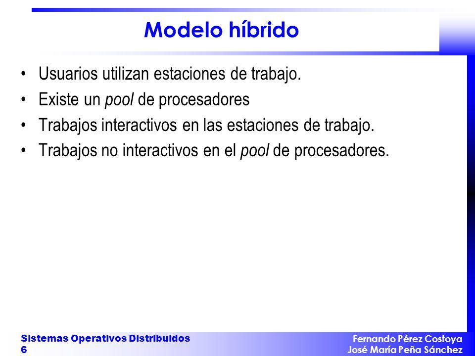 Fernando Pérez Costoya José María Peña Sánchez Sistemas Operativos Distribuidos 6 Modelo híbrido Usuarios utilizan estaciones de trabajo. Existe un po