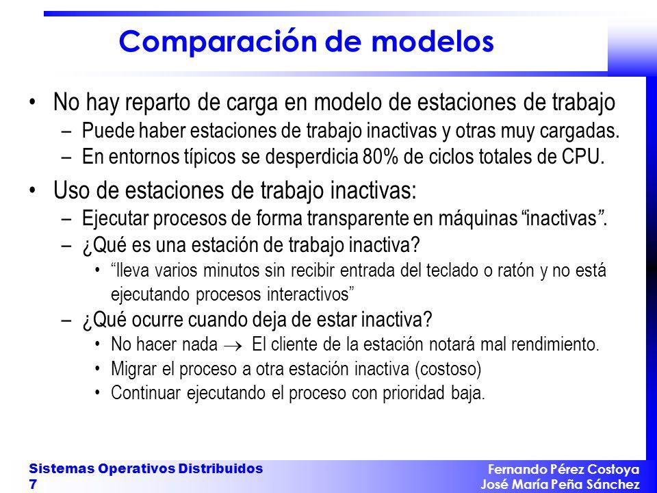 Fernando Pérez Costoya José María Peña Sánchez Sistemas Operativos Distribuidos 7 Comparación de modelos No hay reparto de carga en modelo de estacion