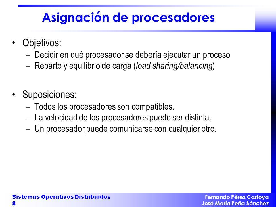Fernando Pérez Costoya José María Peña Sánchez Sistemas Operativos Distribuidos 8 Asignación de procesadores Objetivos: –Decidir en qué procesador se