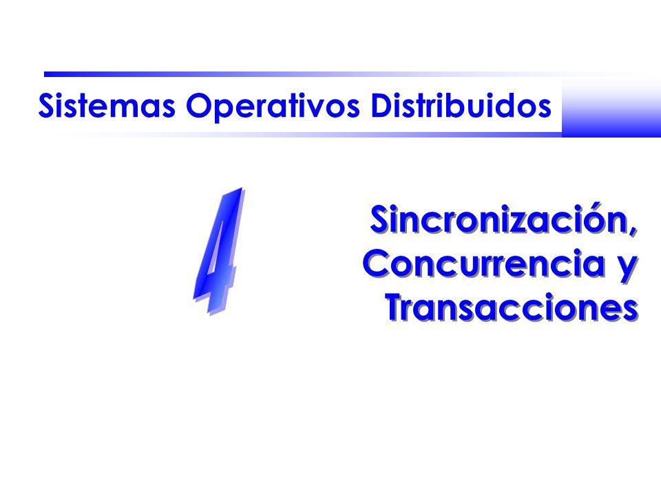 Fernando Pérez Costoya José María Peña Sánchez Sistemas Operativos Distribuidos 62 Cerrojos Actualización perdida: bal=B.getBalance() B.setBalance(bal*1.1) bal=B.getBalance() B.setBalance(bal*1.1) bal=B.getBalance() $200 B.setBalance(bal*1.1) $220 bal=B.getBalance() $200 bal=B.getBalance() $200 B.setBalance(bal*1.1) $220 Lb unlock lock Lb wait