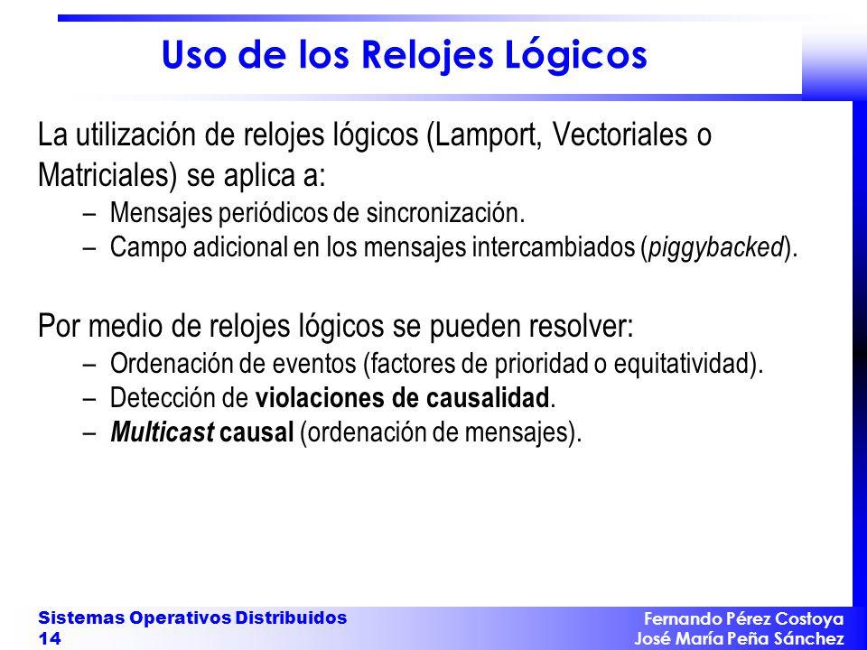 Fernando Pérez Costoya José María Peña Sánchez Sistemas Operativos Distribuidos 14 Uso de los Relojes Lógicos La utilización de relojes lógicos (Lampo