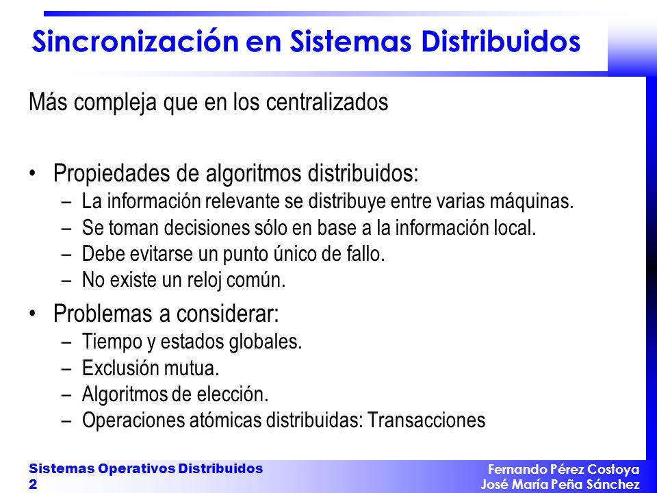 Fernando Pérez Costoya José María Peña Sánchez Sistemas Operativos Distribuidos 13 Algoritmo de Mattern y Fidge (000) (100)(300)(400)(662) (276)(262)(010) (001)(003)(024)(027) (200) (026) (230) (562) (242) (002) (286) (025) (252)(020) ABCD EFG HIJK A F (100)<(252) B || J (300) (025)
