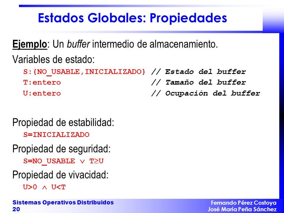 Fernando Pérez Costoya José María Peña Sánchez Sistemas Operativos Distribuidos 20 Estados Globales: Propiedades Ejemplo : Un buffer intermedio de alm