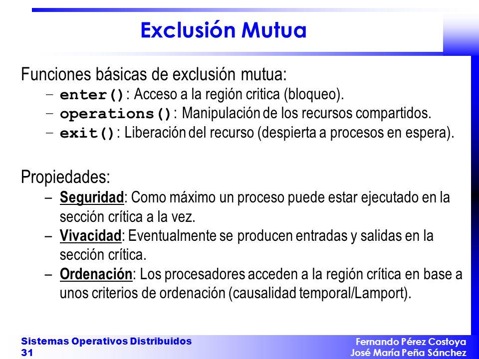 Fernando Pérez Costoya José María Peña Sánchez Sistemas Operativos Distribuidos 31 Exclusión Mutua Funciones básicas de exclusión mutua: –enter() : Ac