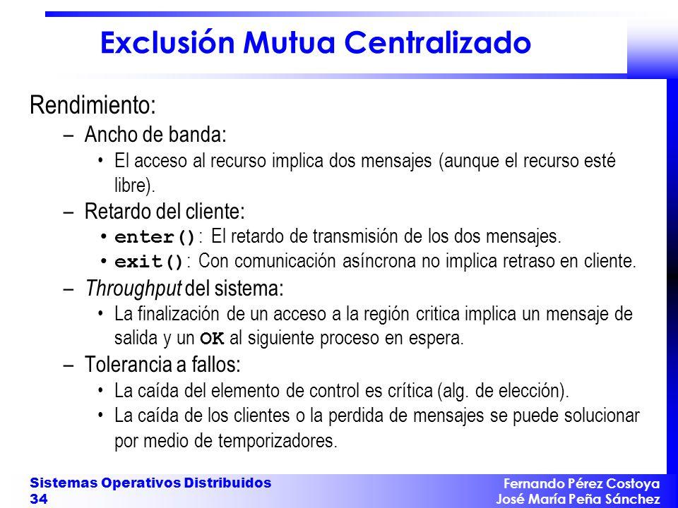 Fernando Pérez Costoya José María Peña Sánchez Sistemas Operativos Distribuidos 34 Exclusión Mutua Centralizado Rendimiento: –Ancho de banda: El acces