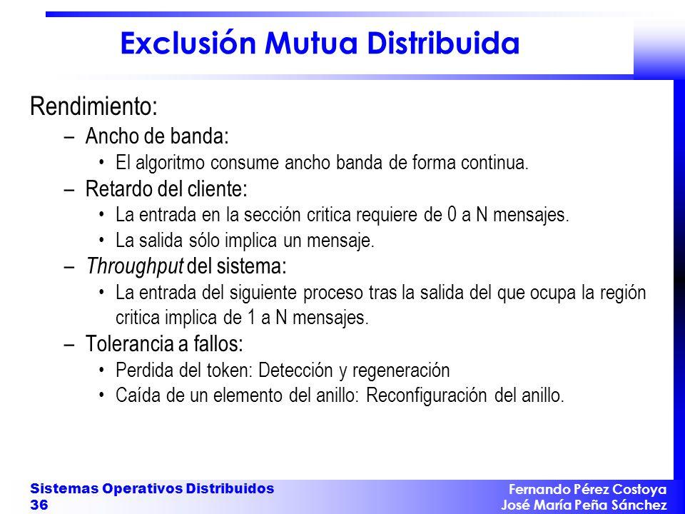 Fernando Pérez Costoya José María Peña Sánchez Sistemas Operativos Distribuidos 36 Exclusión Mutua Distribuida Rendimiento: –Ancho de banda: El algori