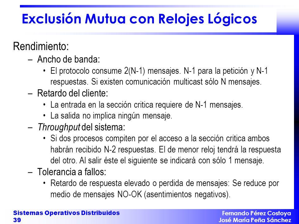 Fernando Pérez Costoya José María Peña Sánchez Sistemas Operativos Distribuidos 39 Exclusión Mutua con Relojes Lógicos Rendimiento: –Ancho de banda: E